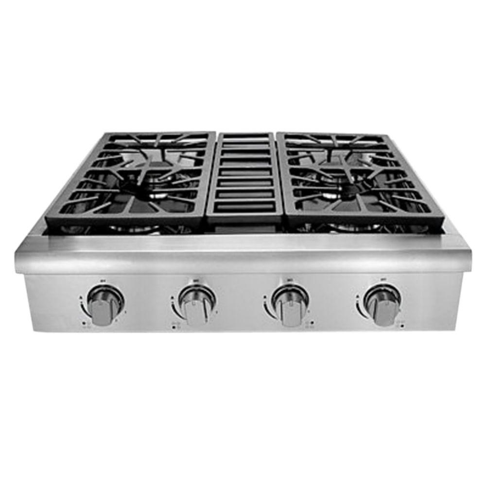 Hallman 30 in. Professional Gas Rangetop with 4 Sealed Burners, Porcelain-Coated