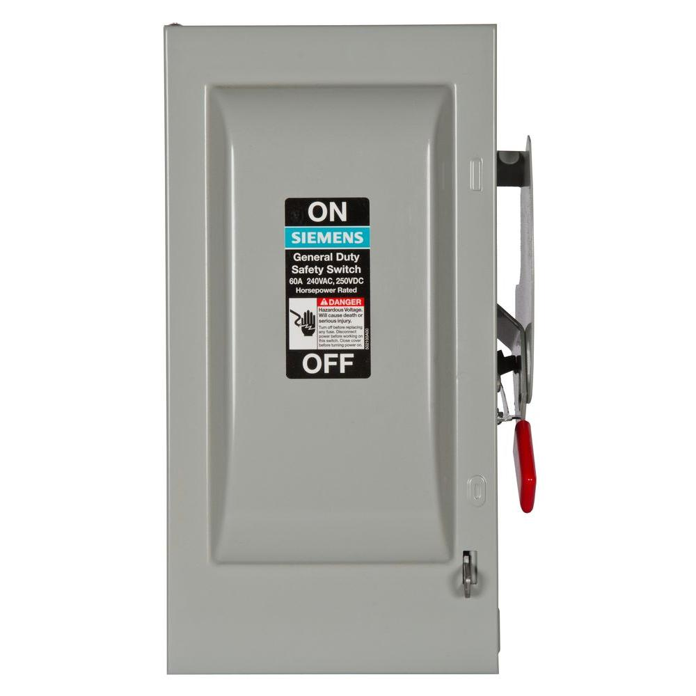 General Duty 60 Amp 240-Volt 2-Pole Indoor Fusible Safety Switch with