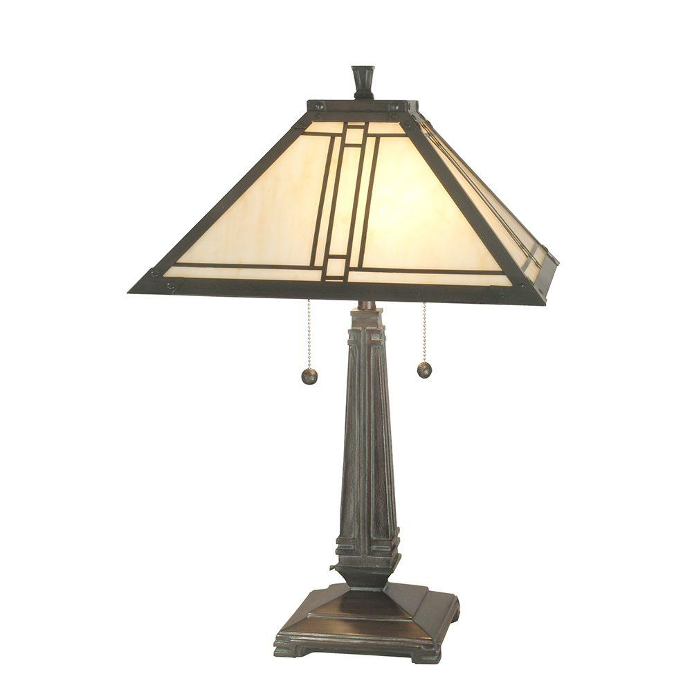 24.25 in. Lined Mission Mica Bronze Table Lamp