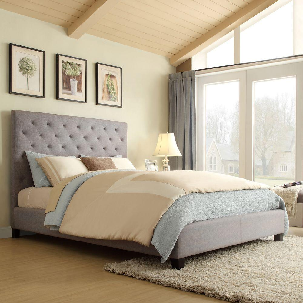 toulouse grey king upholstered bed