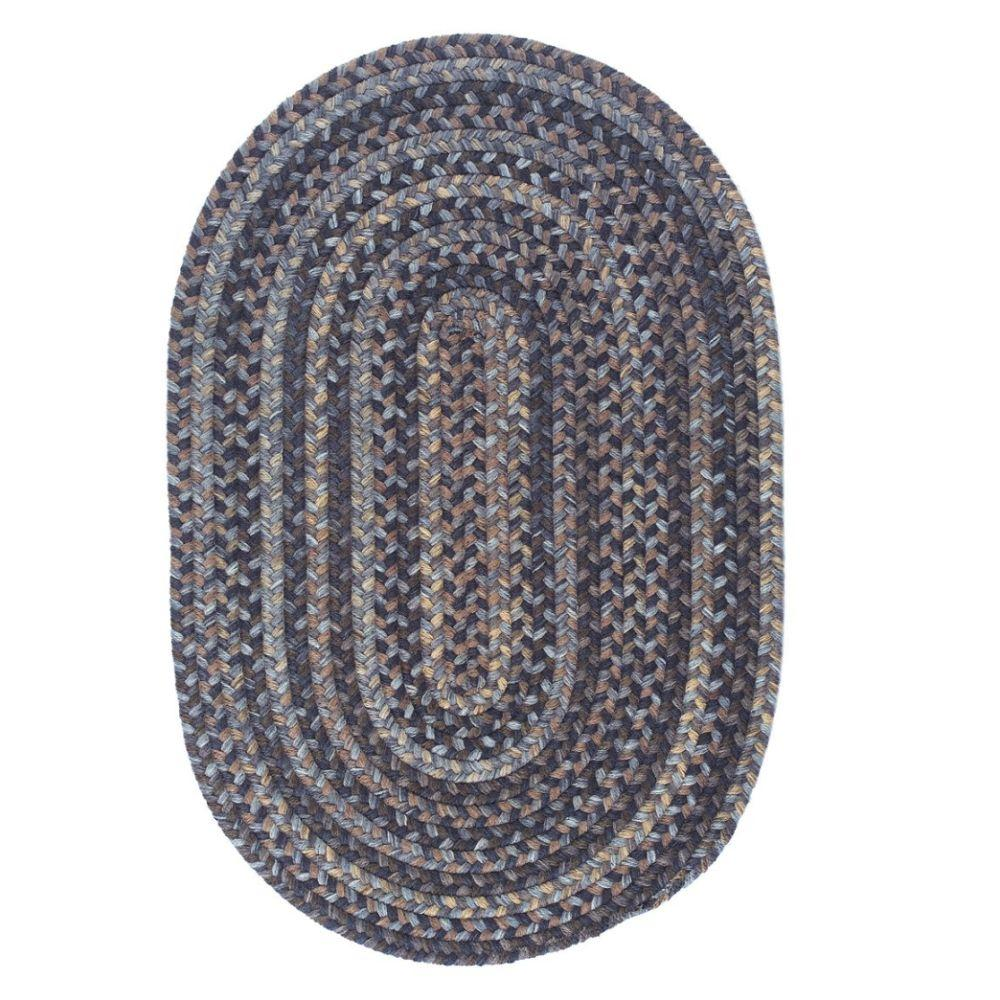 Cage Graphite 2 ft. x 3 ft. Oval Braided Area Rug