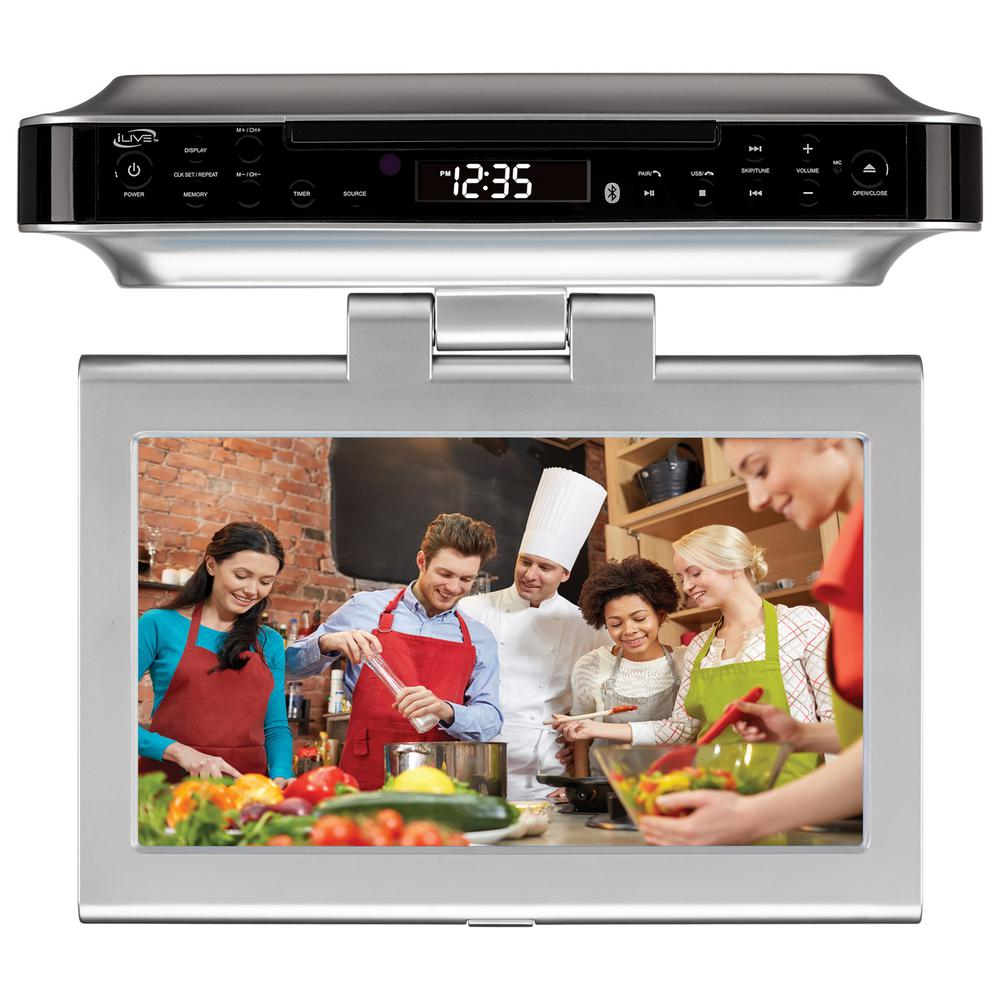 10 in. LCD Bluetooth Under Cabinet System with TV, DVD and