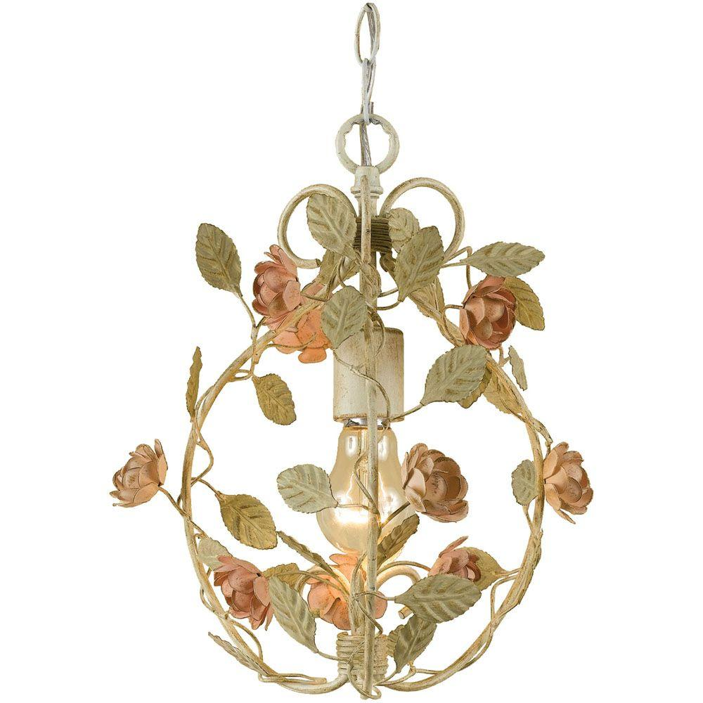 rose 1light antique cream mini chandelier with floral accents