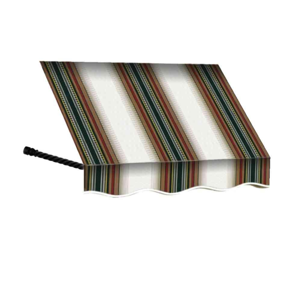 AWNTECH 12 ft. Santa Fe Twisted Rope Arm Window Awning (44 in. H x 24 in. D) in Burgundy/Forest/Tan Stripe