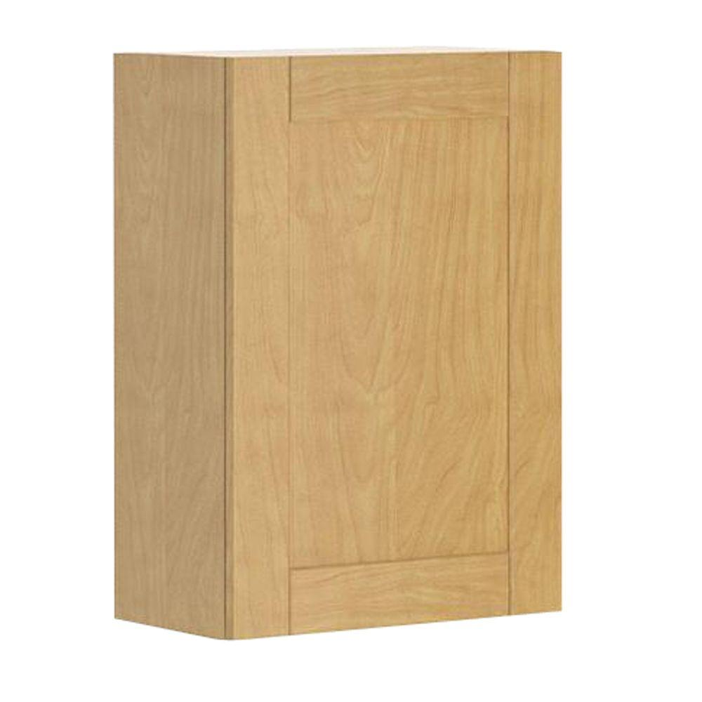 Ready to Assemble 21x30x12.5 in. Milano Wall Cabinet in Maple Melamine and Door in Clear Varnish, Melamine Maple