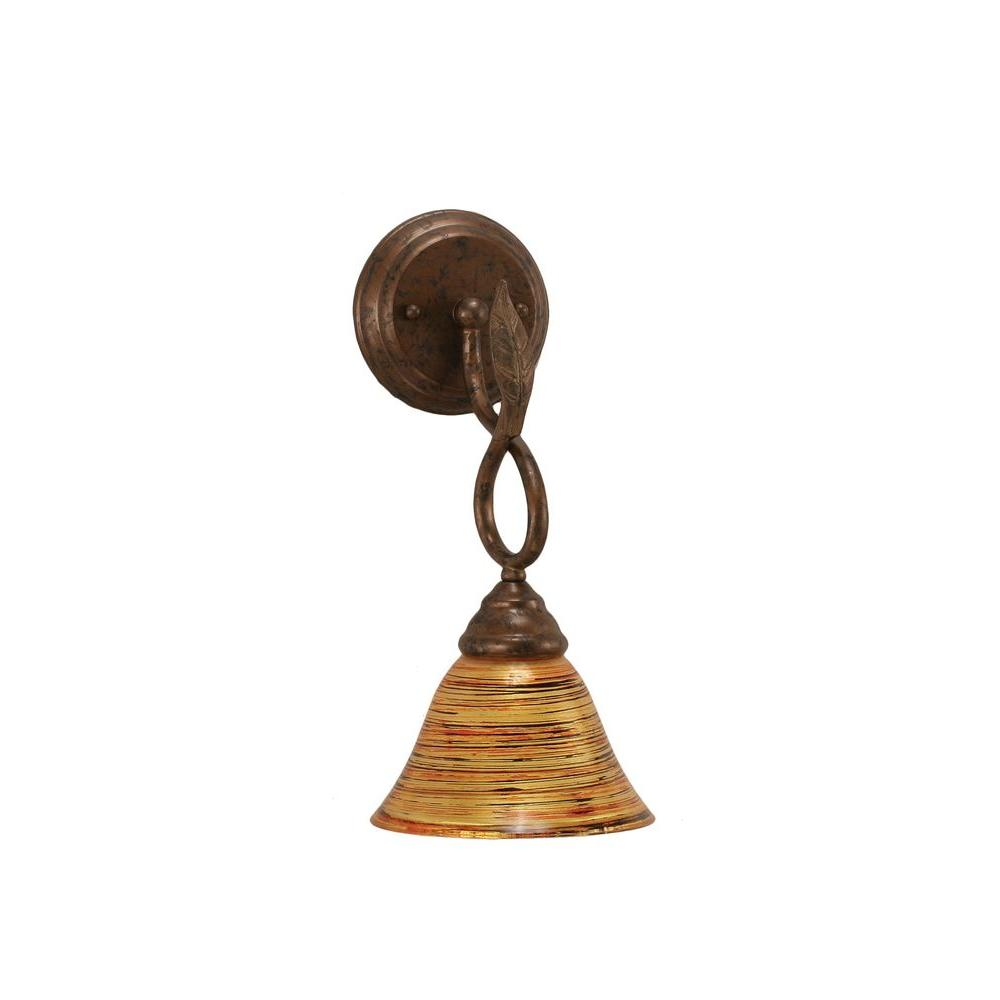 1-Light Bronze Wall Sconce with Firre Saturn Glass Shade