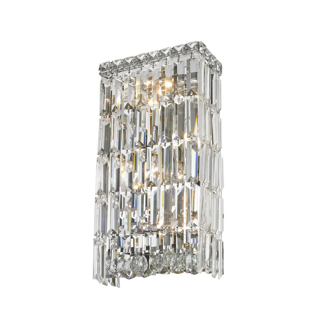 Worldwide Lighting Cascade 4-Light Chrome and Clear Crystal Sconce