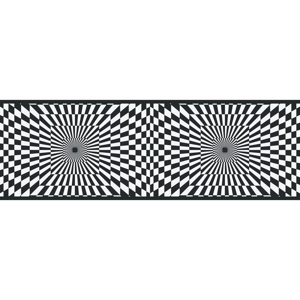 The Wallpaper Company 6.83 in. x 15 ft. Black and White Funky Optics Border