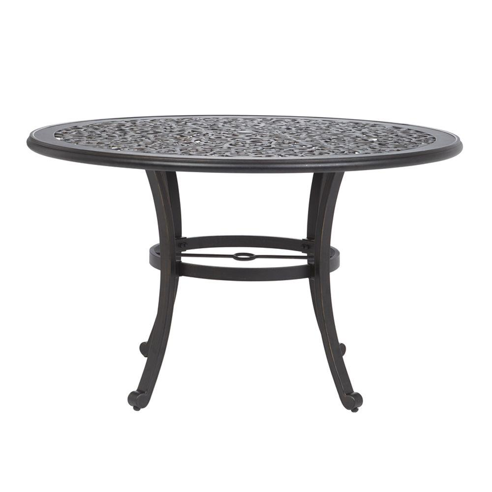 Home Decorators Collection 48 in. W Mayan Gold Alastaire Outdoor Round Dining Table-DISCONTINUED