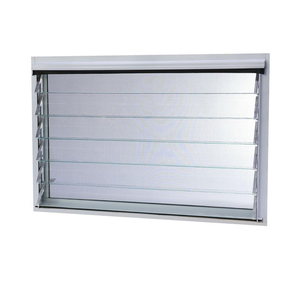 36 in. x 24.87 in. Jalousie Utility Louver Aluminum Window -