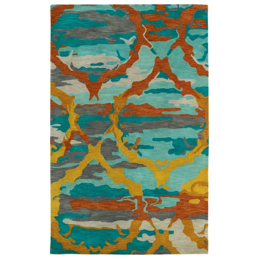 Kaleen Brushstrokes Teal 3 ft. 6 in. x 5 ft. 6 in. Area Rug