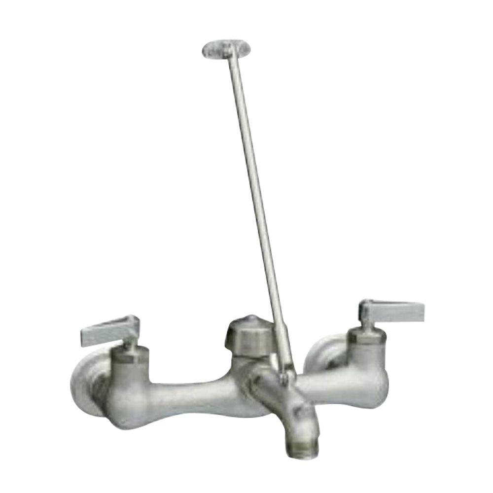KOHLER Kinlock 8 in. Wall-Mount 2-Handle Low-Arc Service Sink Faucet in Polished Chrome