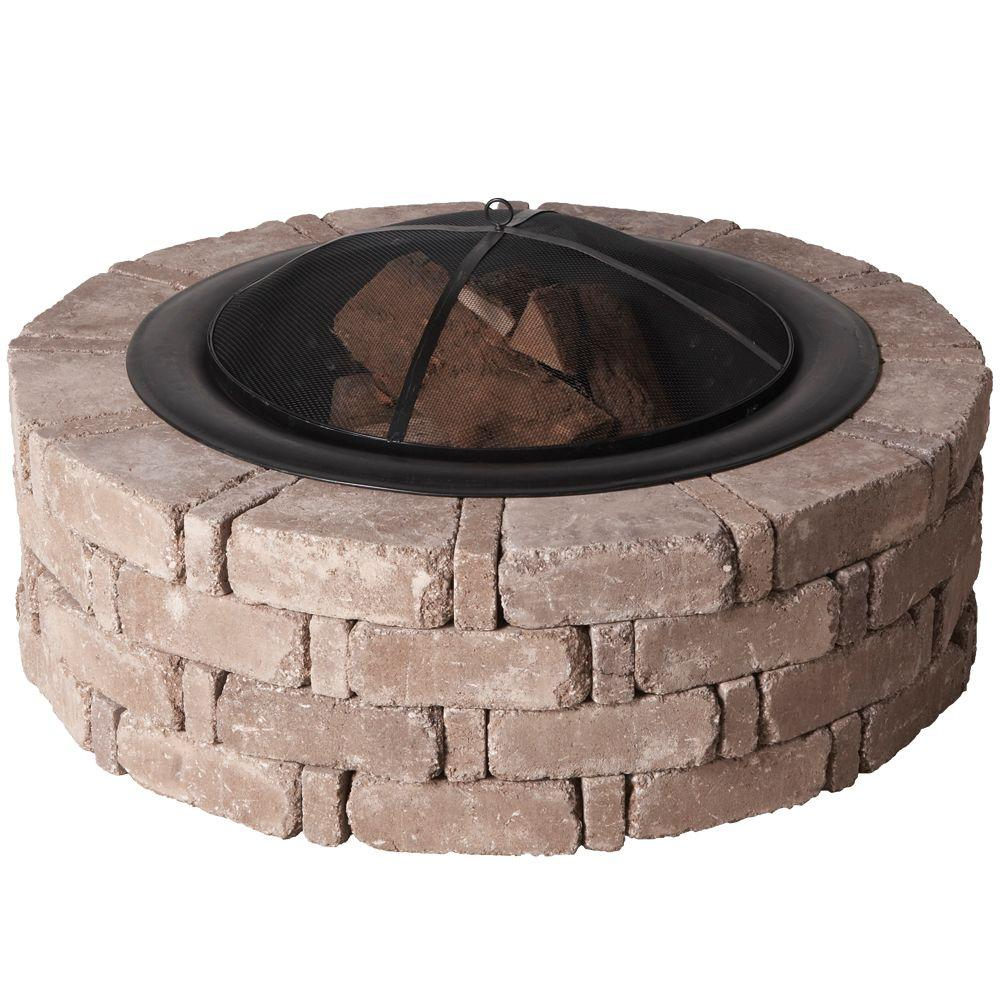 Pavestone 45.8 in. x 14 in. RumbleStone Round Fire Pit Kit
