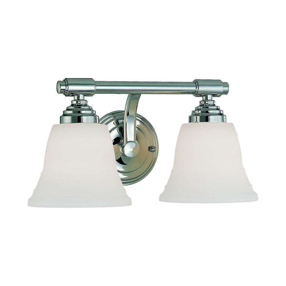 Millennium Lighting 2-Light Chrome Vanity Light with Faux Alabaster Glass