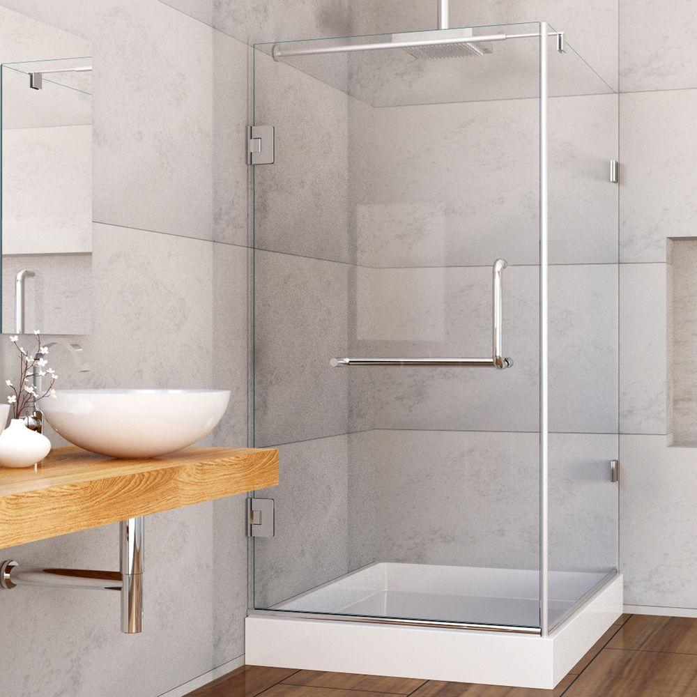 Pacifica 48.125 in. x 79.25 in. Frameless Pivot Shower Enclosure in Chrome with Clear Glass and Right Base