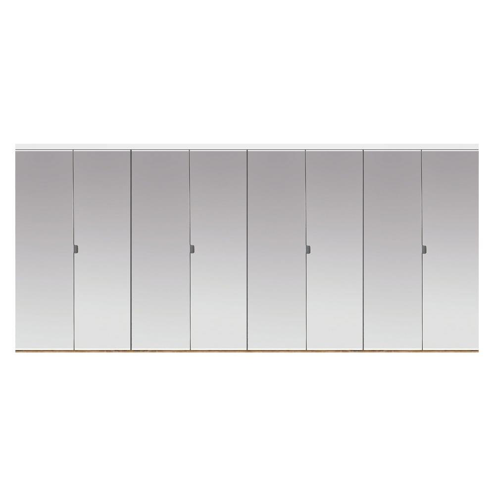 Beveled Edge Mirror Solid Core MDF Interior Closet Bi Fold Door With White  Trim BMP3445068W   The Home Depot