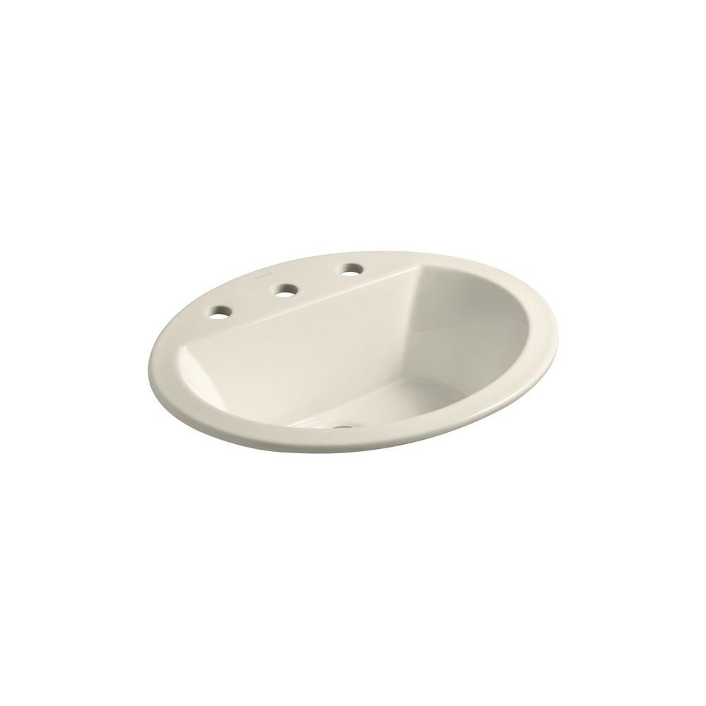 Bryant Drop-In Vitreous China Bathroom Sink in Almond with Overflow Drain