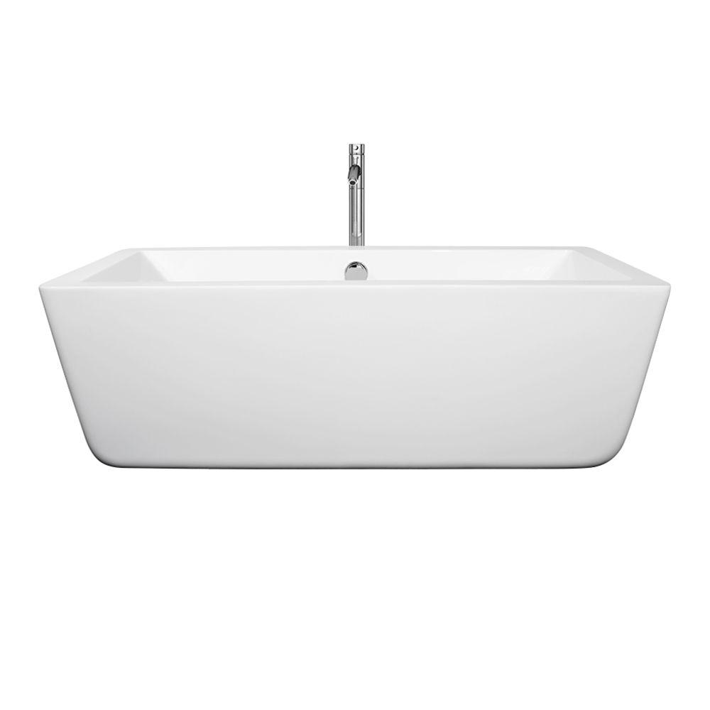 Laura 4.92 ft. Center Drain Soaking Tub in White with Floor