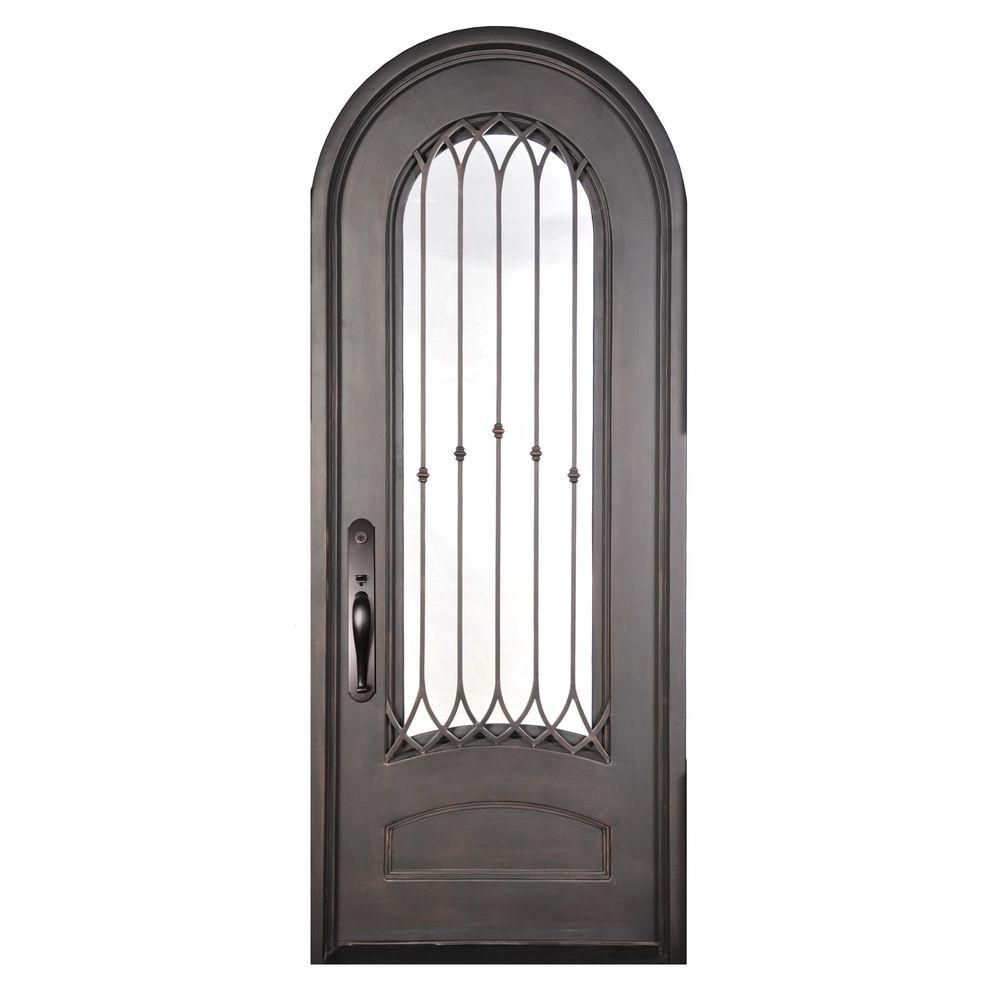 Iron doors unlimited 74 in x 110 in fero fiore classic 3 4 lite painted oil rubbed bronze rain - Iron security doors home depot ...
