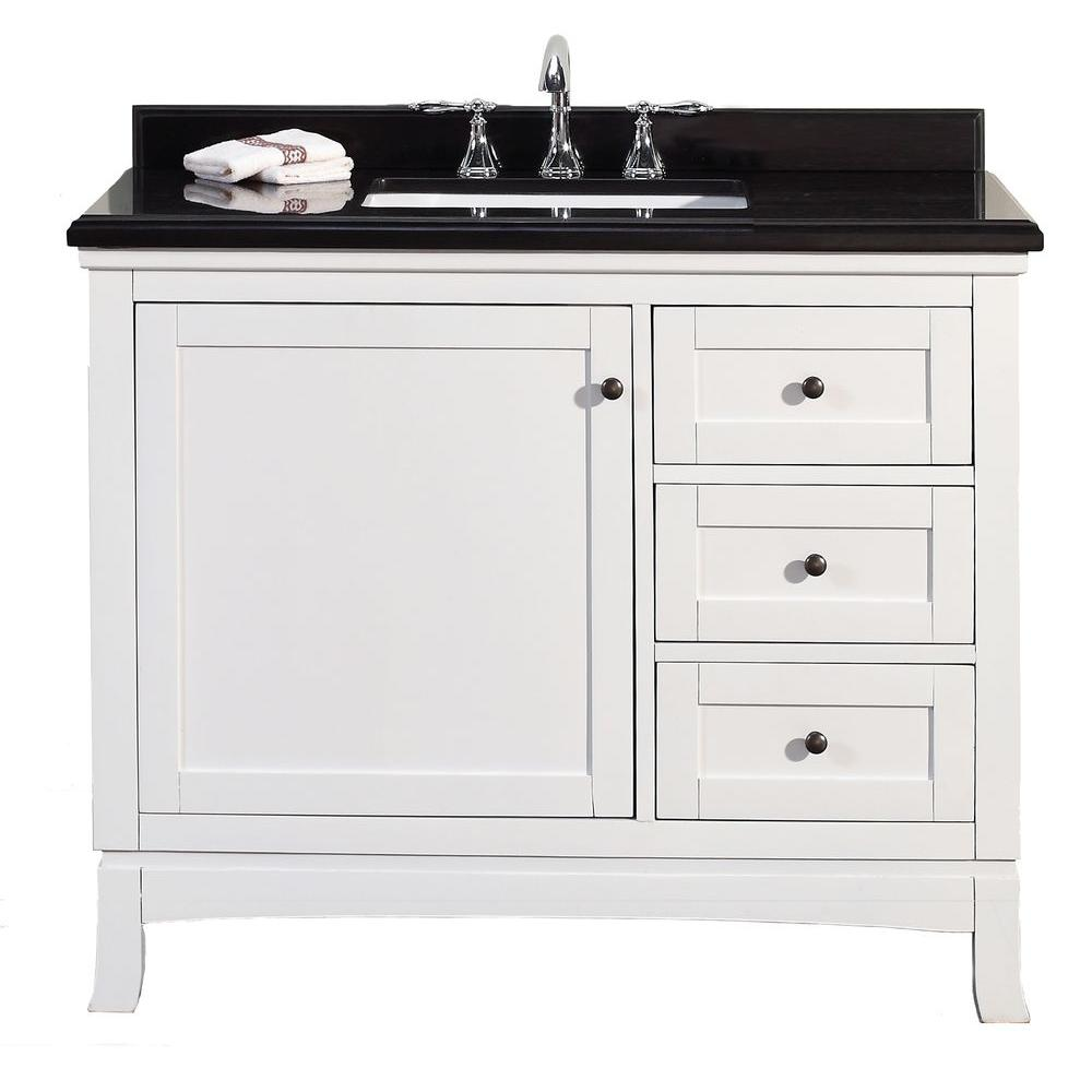 Ove decors sophia 42 in w x 21 in d vanity in white with for Black bathroom vanity with white marble top