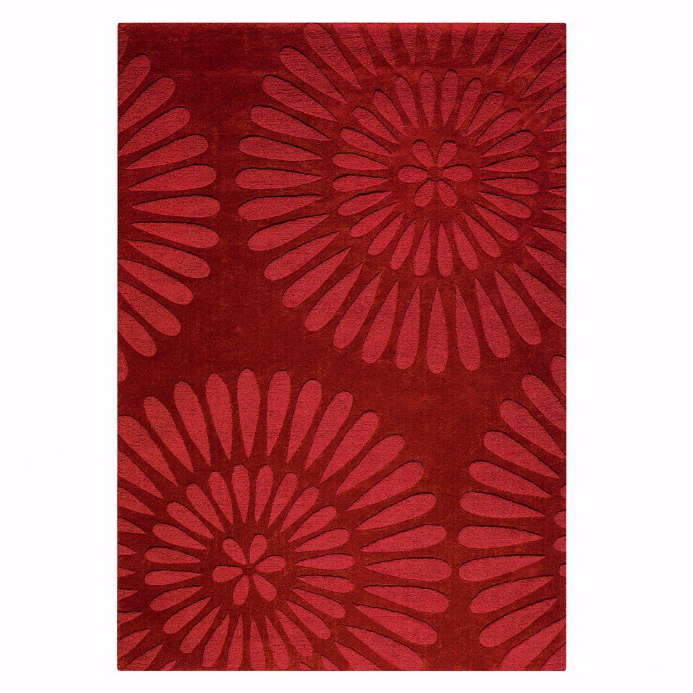 Home Decorators Collection Greco Burgundy 3 ft. 6 in. x 5 ft. 6 in. Area Rug