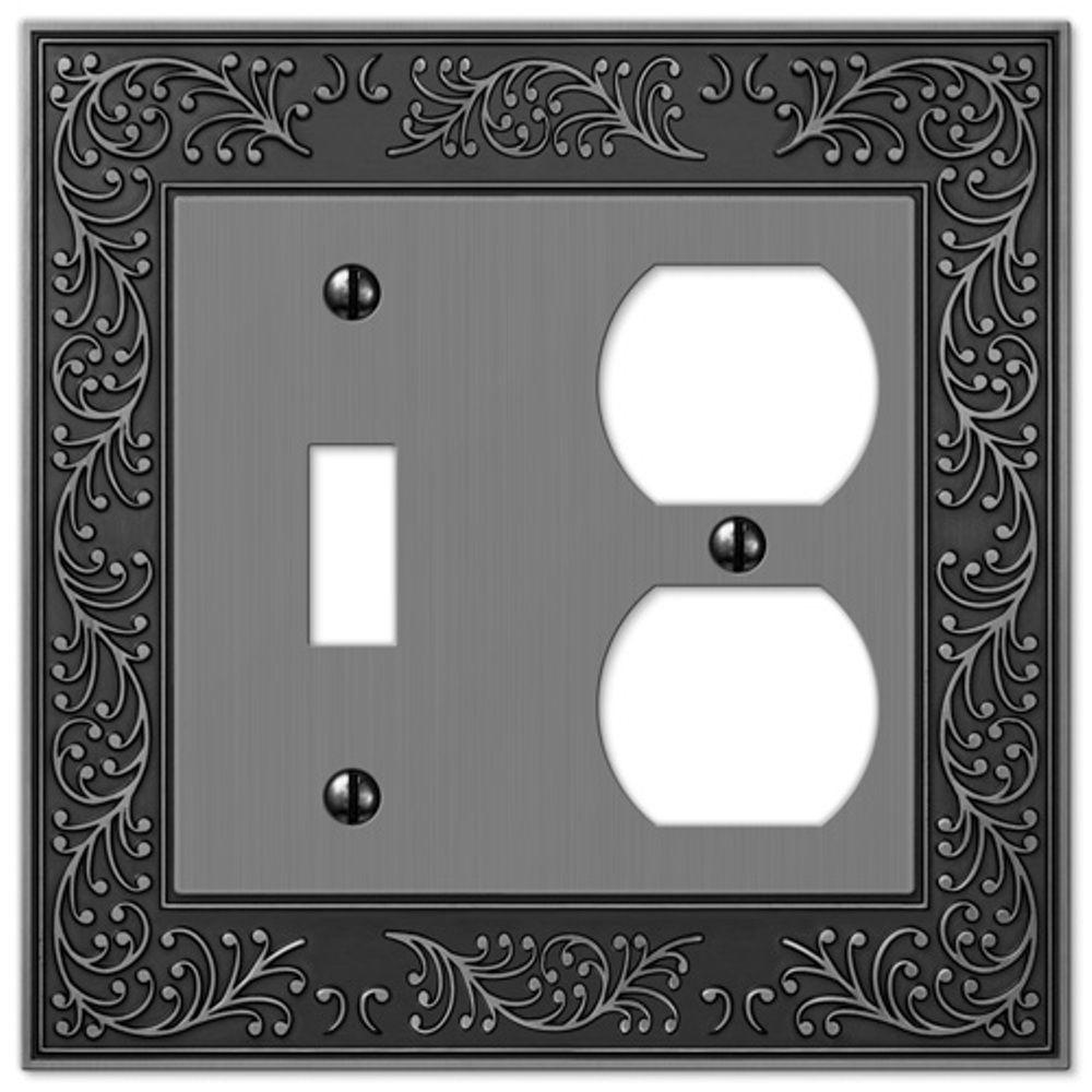 English Garden 1 Toggle and 1 Duplex Wall Plate - Antique