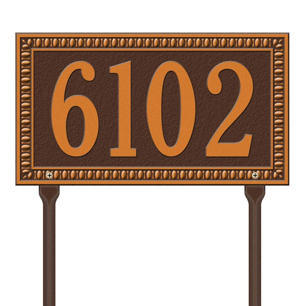 Egg and Dart Rectangular Antique Copper Standard Lawn One Line Address