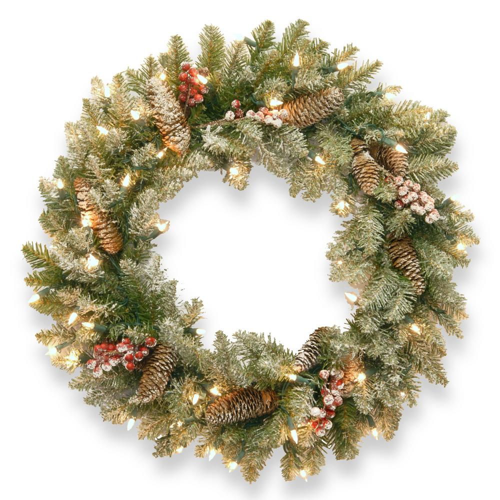 National Tree Company Dunhill Fir 30 in. Artificial Wreath with Clear