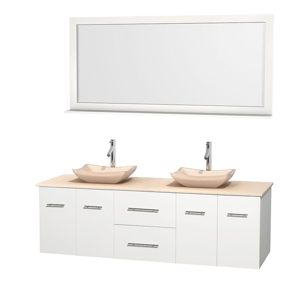 Wyndham Collection Centra 72 in. Double Vanity in White with Marble Vanity Top in Ivory, Marble Sinks and 70 in. Mirror