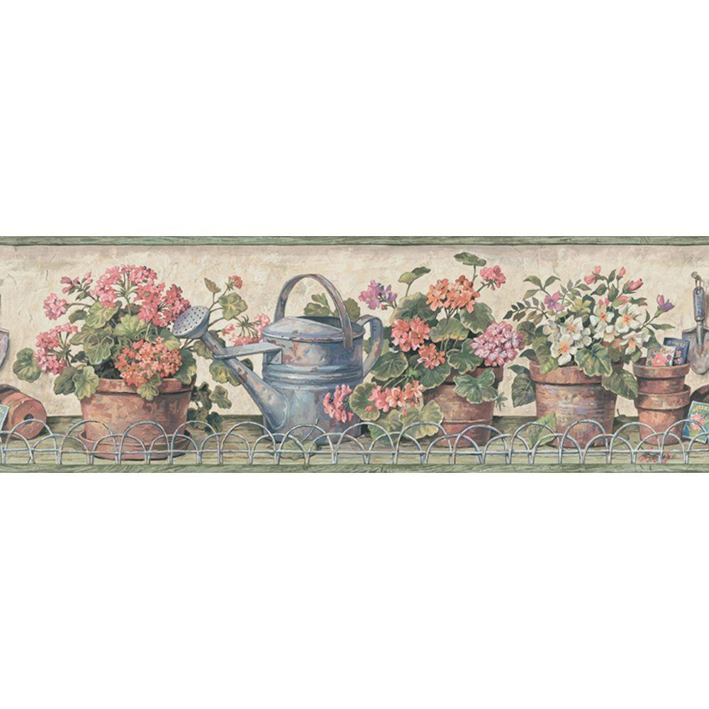 The Wallpaper Company 6.83 in. x 15 ft. Orange and Green Potted Geranium Border