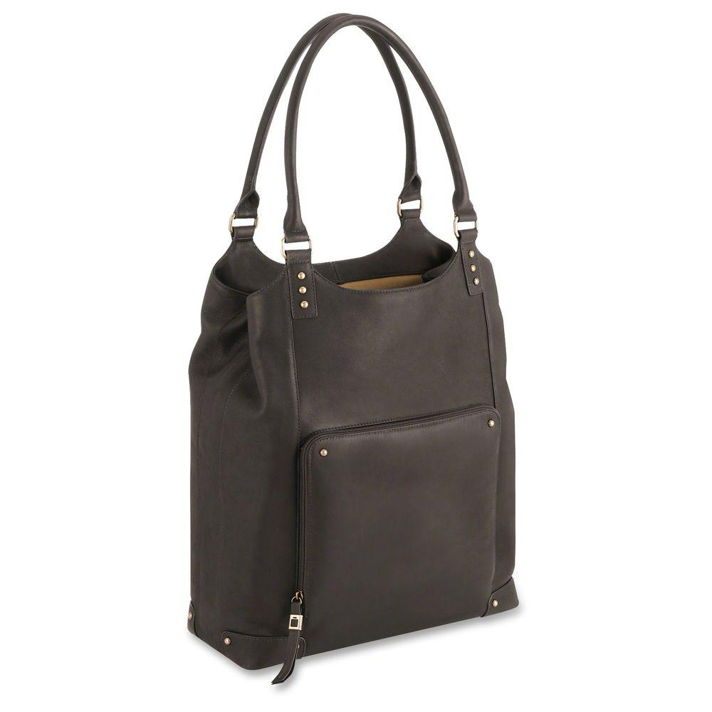 16.5 in. Vintage Brown Leather Notebook Tote