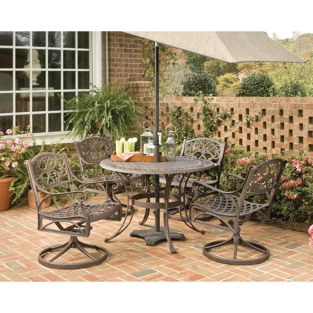 Home Styles Biscayne 48 in. Bronze 5-Piece Round Swivel Patio Dining Set