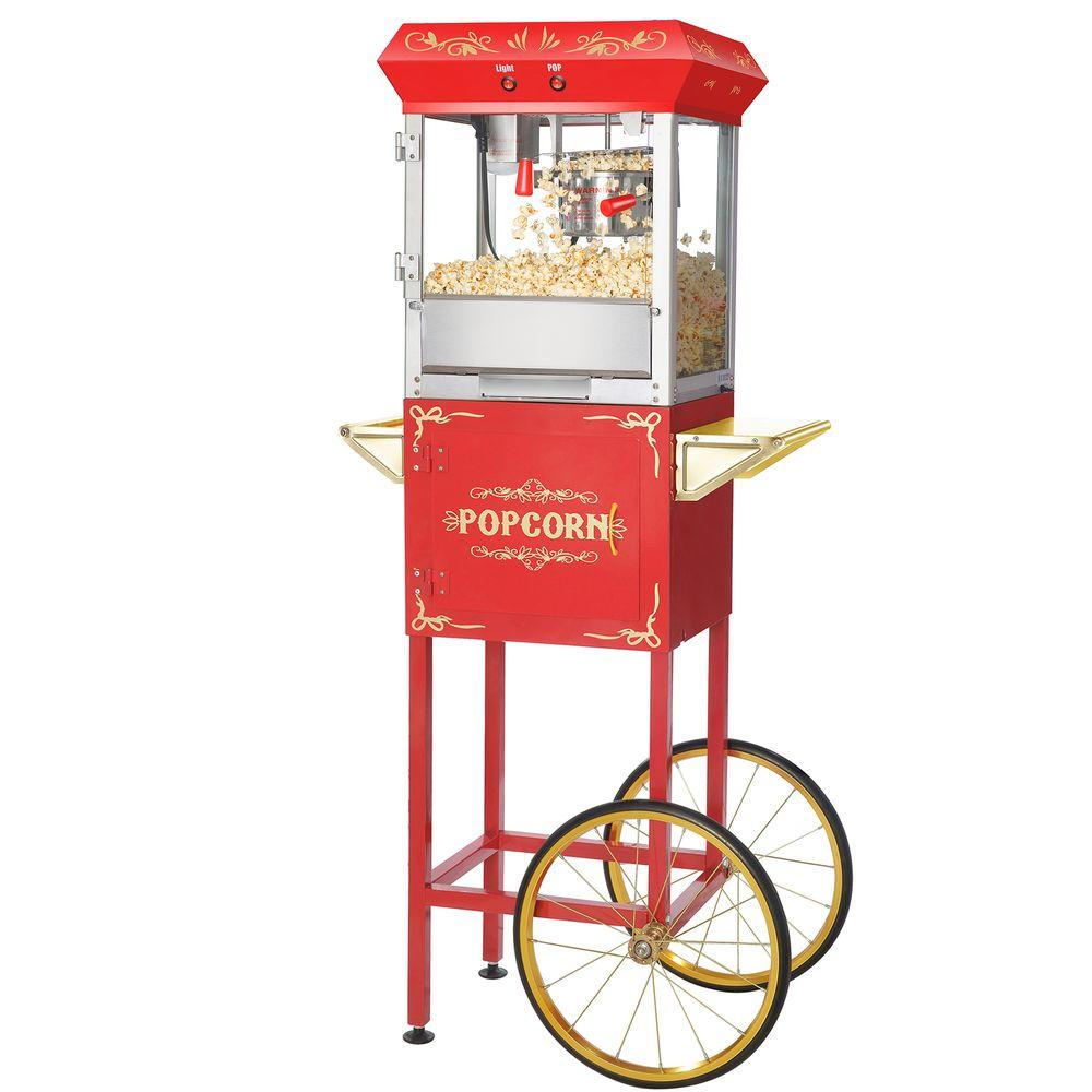Popcorn Red Foundation Popcorn 6 oz. Popper Machine with Cart