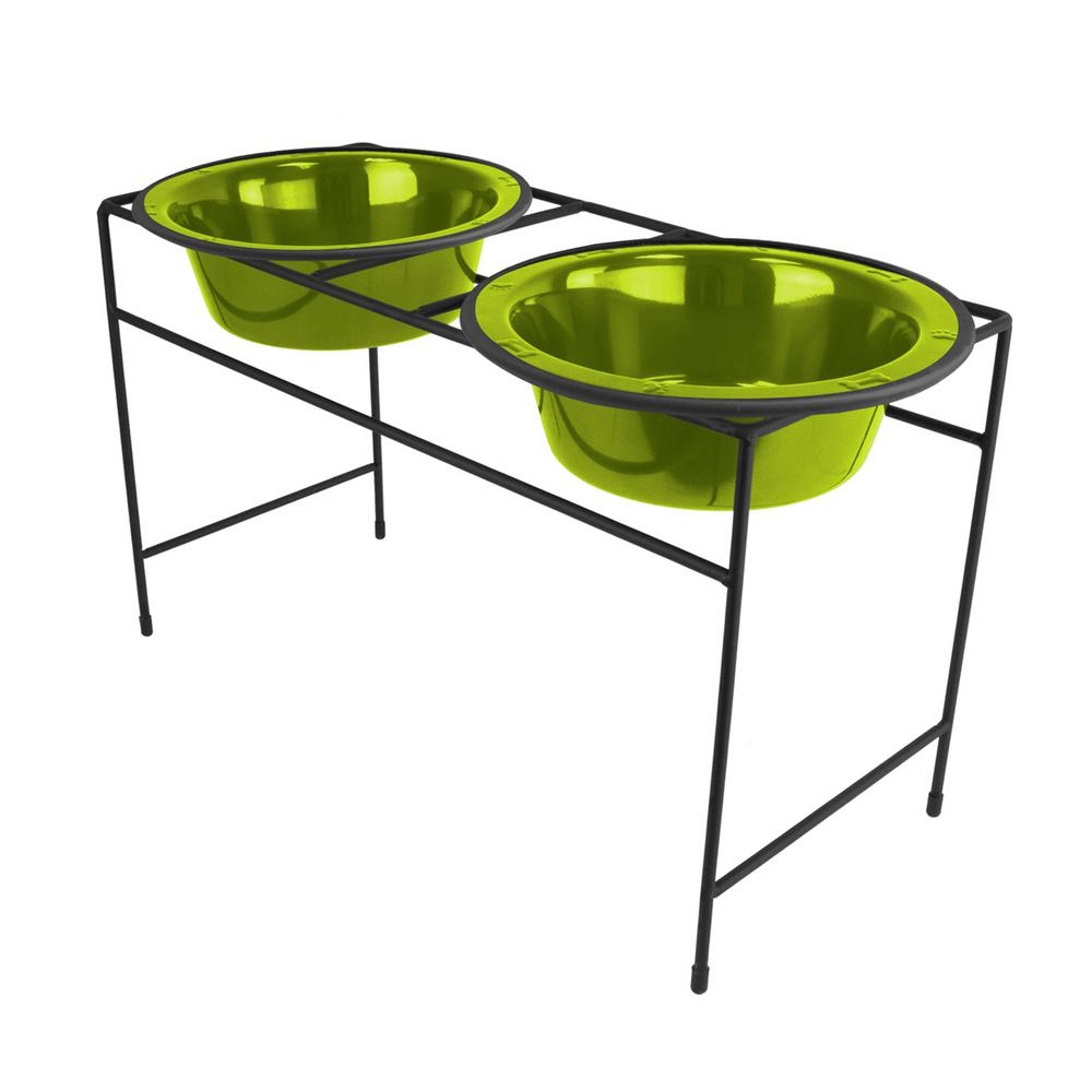 6.25 Cup Modern Double Diner Feeder with Dog Bowls, Corona Lime
