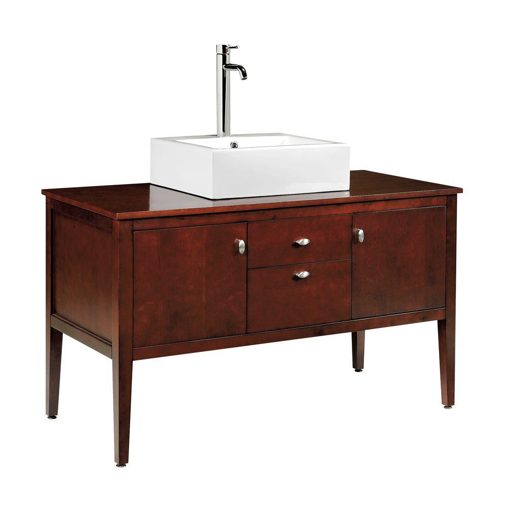 Home Decorators Collection Palmer 49 in. W x 22 in. D Vanity in Dark Cherry with Raised China Basin