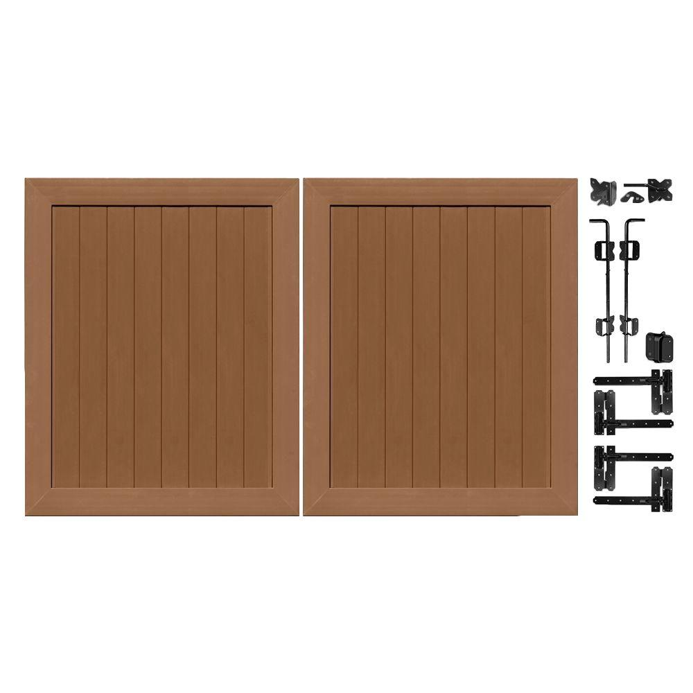 Veranda Pro Series 5 ft. W x 6 ft. H Brown Vinyl Anaheim Privacy Double Drive Through Fence Gate
