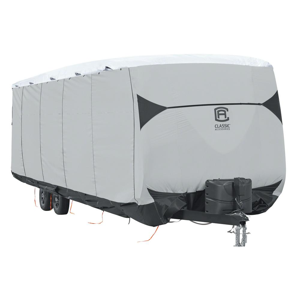 Skyshield 426 in. L x 102 in. W x 110 in. H Travel Trailer RV Cover, Black/Grey And Snow White