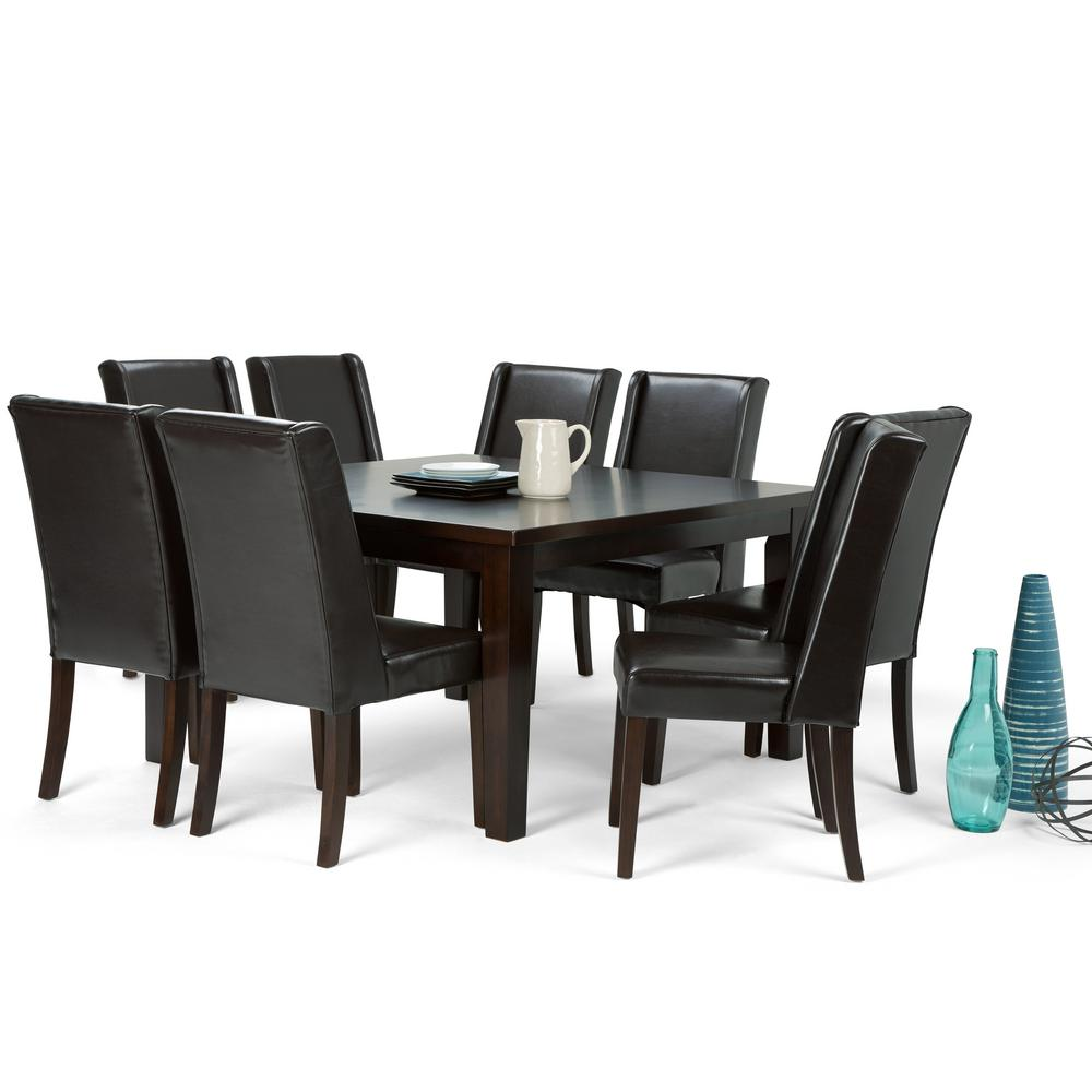 simpli home sotheby 9 piece tanners brown dining set axcds9sb br sotheby 9 piece tanners brown dining set