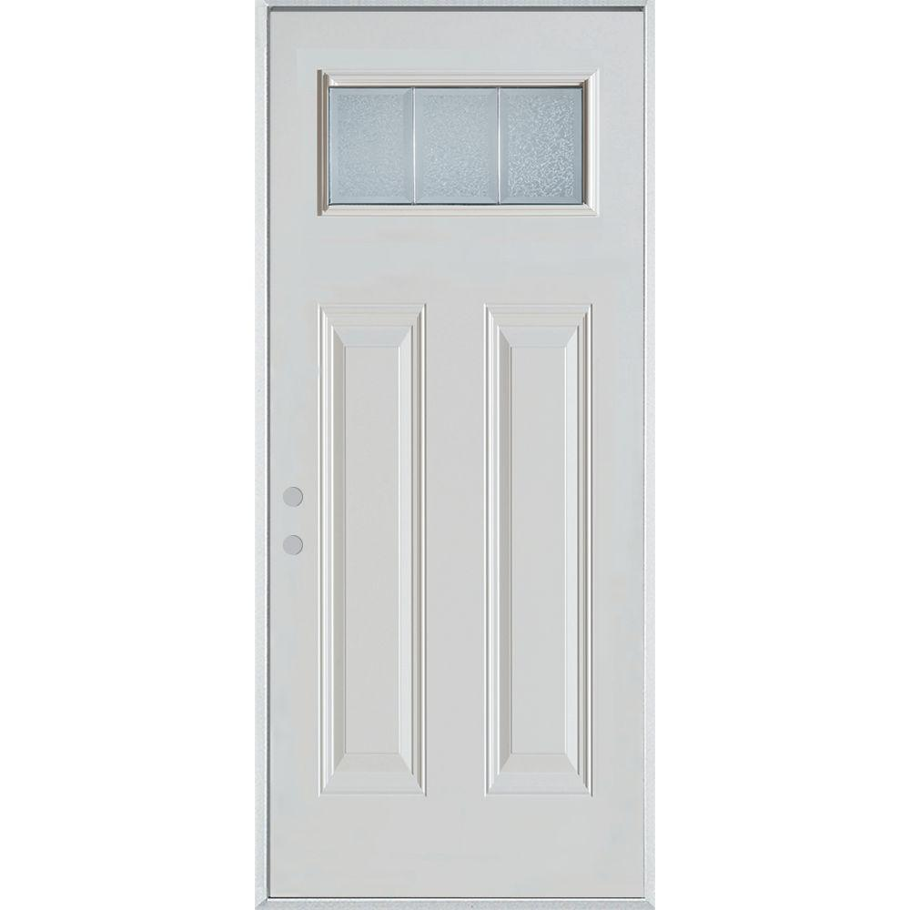 Stanley Doors 32 in. x 80 in. Geometric Glue Chip/Brass Rectangular Lite Painted White Right-Hand Inswing Steel Prehung Front Door