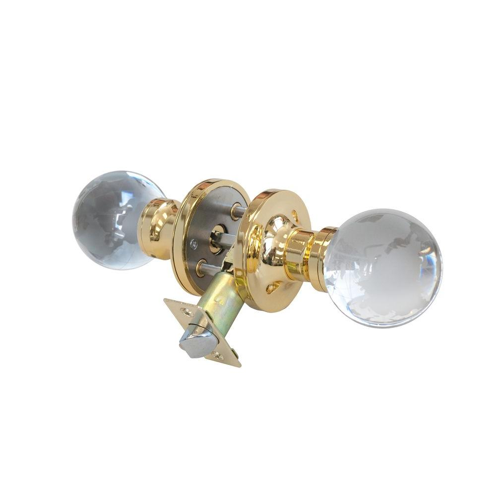 Globe Crystal Brass Privacy Door Knob with LED Mixing Lighting Touch