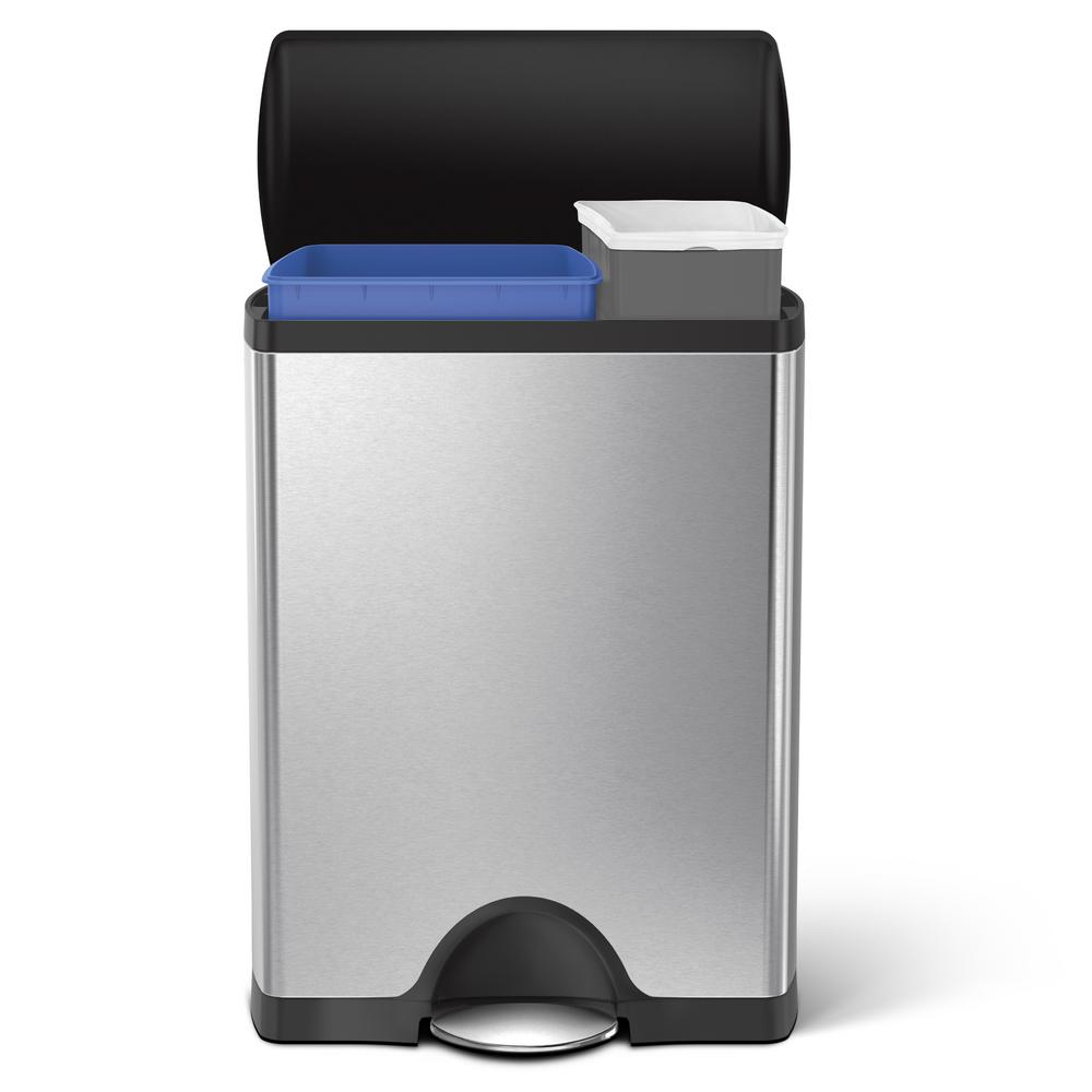 simplehuman 46-Liter Brushed Stainless Steel Rectangular Recycling Step-On Trash Can with Black Plastic Lid