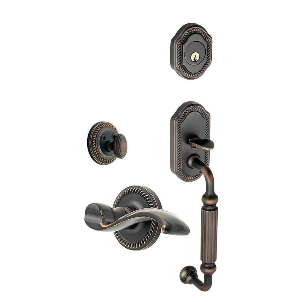 Newport Single Cylinder Timeless Bronze F-Grip Handleset with Left Handed