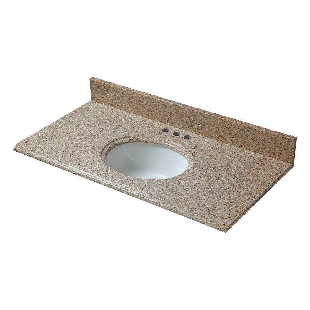 37 in. W Granite Vanity Top in Beige with White Basin