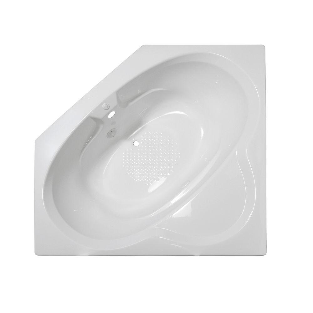 Lyons Industries Classic 5 ft. Corner Front Drain Heated Soaking Tub in White
