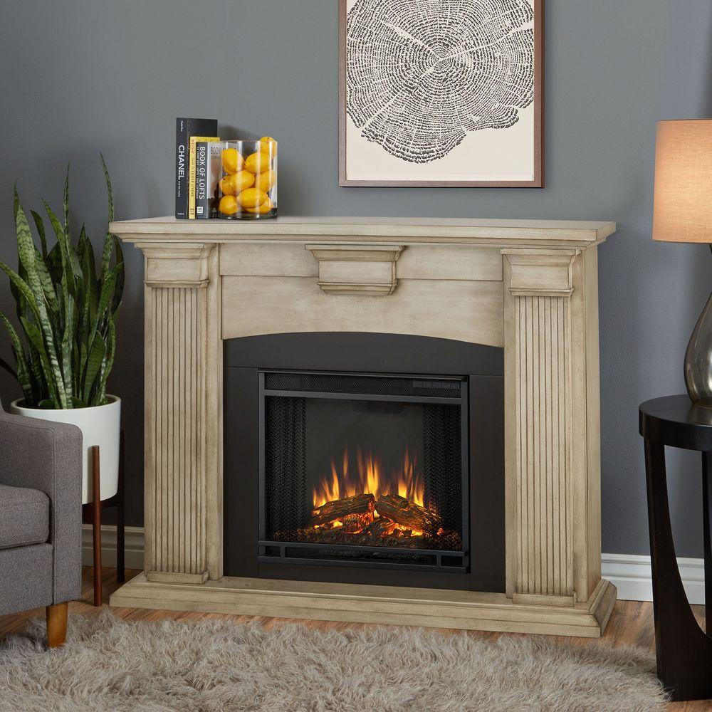 Electric Fireplace Heaters Home Depot: Real Flame Adelaide 51 In. Electric Fireplace In Dry Brush