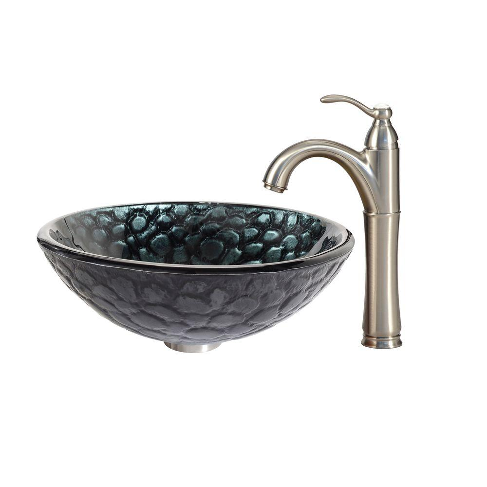 Kratos Glass Vessel Sink in Black with Riviera Faucet in Satin