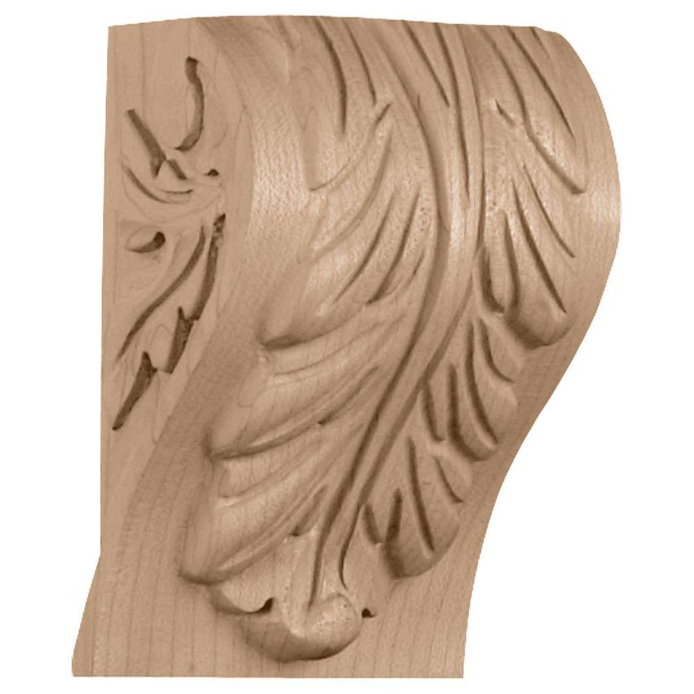 Ekena Millwork 3-1/4 in. x 2-3/4 in. x 5 in. Alder Extra Small Block Acanthus Leaf Corbel