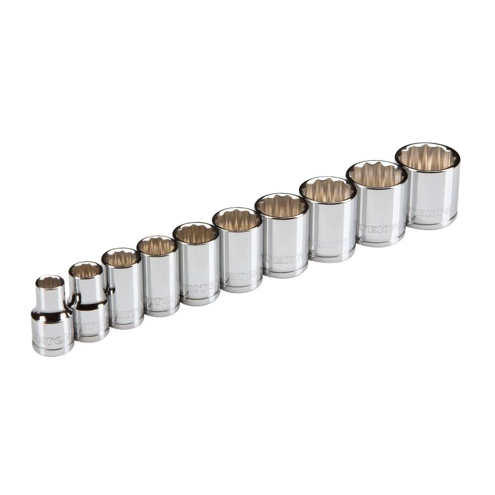 3/8 in. Drive 10-19 mm 12-Point Shallow Socket Set