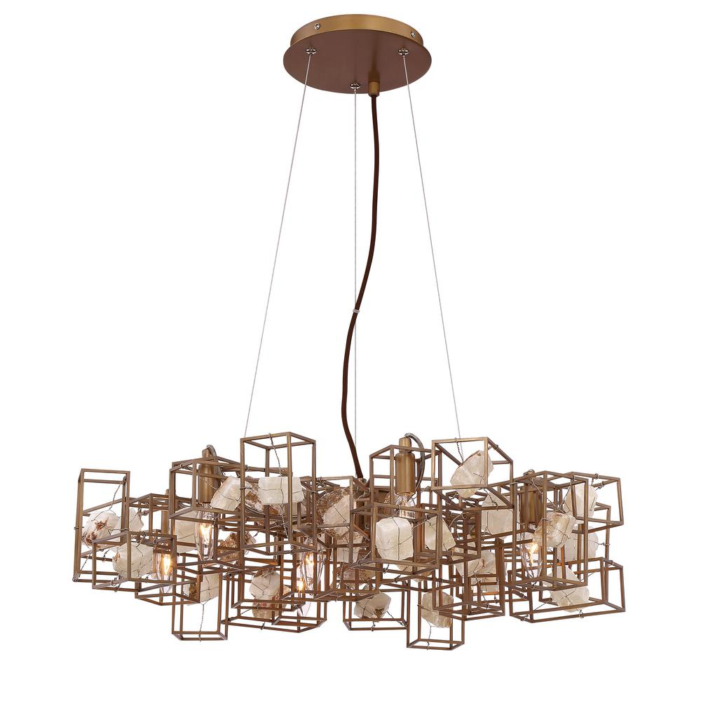 Patton Collection 6-Light Bronze Chandelier with Natural Stone Shade