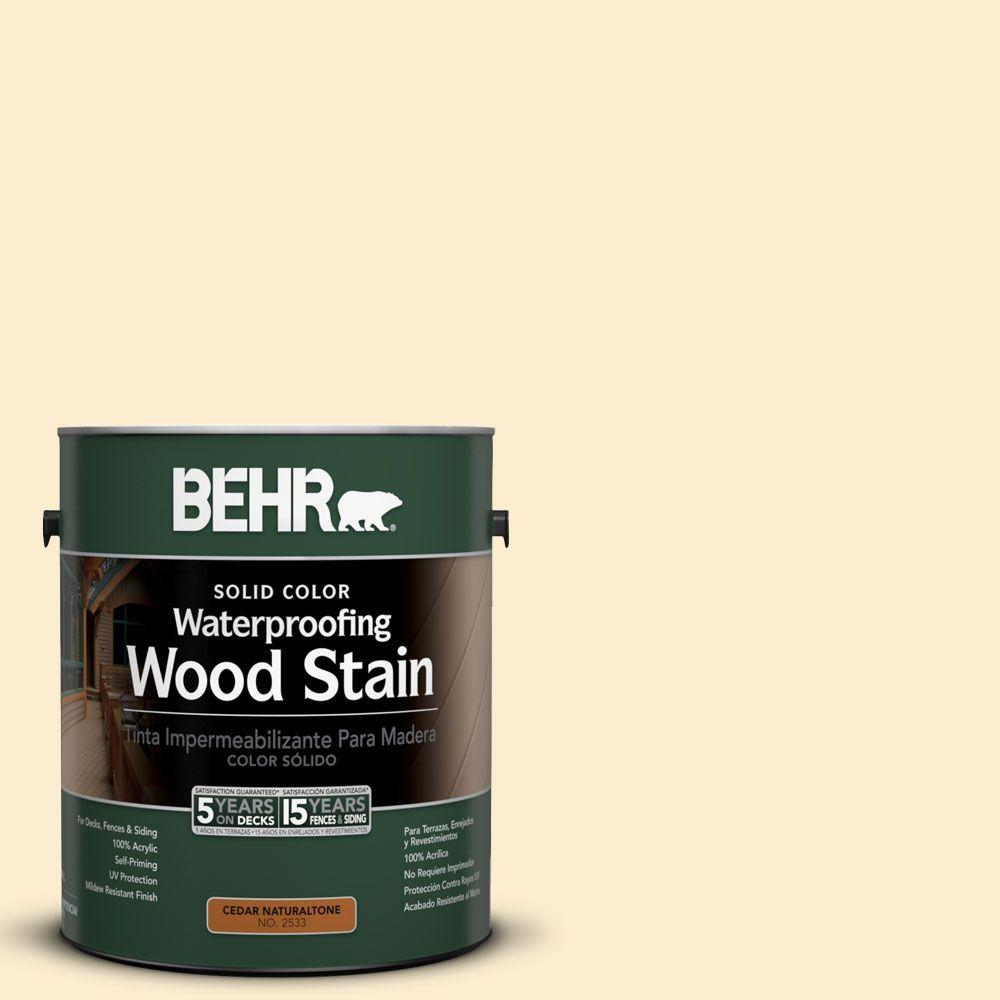 BEHR 1-Gal. #SC-157 Navajo White Solid Color Waterproofing Wood Stain-21101 -